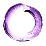 Abstract circle acrylic and watercolor painted background. White and violet grunge paint element isolated on white. Modern design element. Watercolor frame Stock Photos
