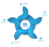Abstract circle arrows 3D digital illustration Infographic clean style. Royalty Free Stock Image
