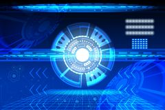 Abstract circle Concept innovation connect digital line engineering in world digital technology future data computer network comm. Unication on dark blue color Royalty Free Stock Image