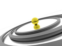 Abstract circle concept with yellow sphere Stock Photography