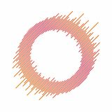 Abstract circle with dynamic lines. Abstract background with circle in colorful blend. Dynamic banner, frame. Design element for decoration. Vector stock illustration