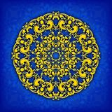 Abstract  circle floral ornamental border. Lace pattern design. White ornament on blue background. Can be used for banner, w Stock Photography