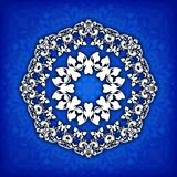 Abstract  circle floral ornamental border. Lace pattern design. White ornament on blue background. Can be used for banner, w Royalty Free Stock Images