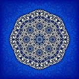 Abstract  circle floral ornamental border. Lace pattern design. White ornament on blue background. Can be used for banner, w Stock Images