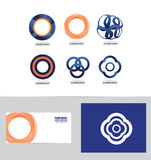 Abstract circle flower logo set Stock Photos