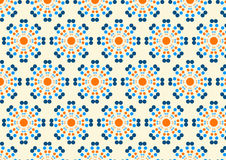 Abstract Circle Flower Pattern on Pastel Color. Orange and Blue abstract circle blossom pattern on sweet background. Modern bloom pattern style for graphic or Stock Photos