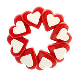 Abstract circle frame made of hearts isolated. Abstract round glossy circle frame made of red and blue hearts isolated on white Stock Illustration