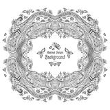 Abstract circle frame with pattern background in Zen-doodle style black on white Stock Image