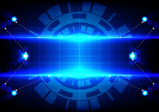 Abstract circle hex and light blue effect technology Royalty Free Stock Photos