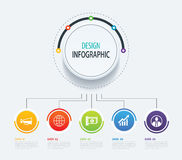 5 abstract circle infographic number business options template. Royalty Free Stock Image