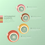 Abstract circle label infographics. Modern vector abstract circle label infographic elements stock illustration