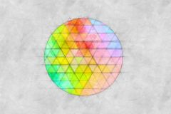 Abstract Circle Made Of Triangles Sketch. Abstract Circle Made Of Colorful Triangles Sketch Royalty Free Stock Photography