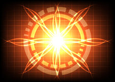 Abstract circle on orange light ray effect technology Royalty Free Stock Photography