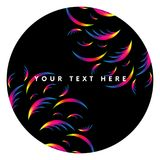 Abstract circle ornament with spectrum gradient. Sticker. Frame. Text template. Dark style. Vector illustration. Abstract circle ornament with spectrum gradient Royalty Free Stock Image