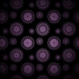 Abstract circle ornaments purple on black centered and blurred Stock Photo
