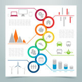 Abstract 8 Circle Ribbon Infographic 3. Abstract 8 Circle loop Ribbon Infographic with corporate, energy and transport icons, statistics, space for text and Royalty Free Stock Photos