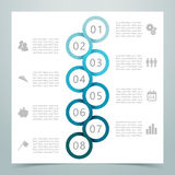 Abstract 8 Circle Ribbon Infographic 2. Abstract Circle loops 1 to 8 Ribbon Infographic with corporate icons, space for Stock Photography
