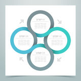 Abstract 4 Circle Ribbon Infographic 3. Abstract Circle Ribbon Infographic with steps 1 to 4, arrows and editable transparent drop Royalty Free Stock Image