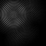 Abstract circle sound waves oscillating dark gray background.  Stock Image