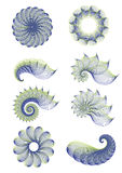 Abstract circle and spiral set Stock Image