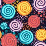 Abstract circle spiral shapes on black background seamless pattern. Red, yellow, purple, blue dots stock illustration
