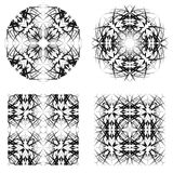 Abstract circle and square patterns. Creative geometric ornaments. Vector black and white backgrounds vector illustration