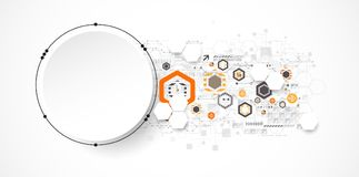Abstract circle technology concept. Circuit board, high computer. Color background. Vector illustration Royalty Free Stock Photo