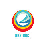 Abstract circle - vector logo template concept illustration. Colored ring and sharp shape sign. Development business creative sign Stock Photos