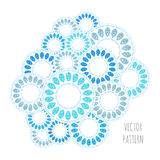 Abstract circle vector pattern, blue and white ornament. Abstract circle vector pattern. Blue and white drops ornament Stock Image