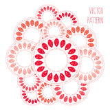 Abstract circle vector pattern, red pink orange and white drops ornament Royalty Free Stock Photo