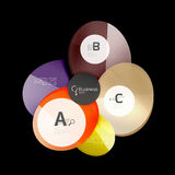 Abstract circles on black. Glass elements banner Stock Image
