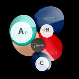 Abstract circles on black. Glass elements banner Stock Photo