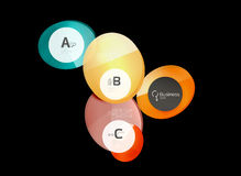 Abstract circles on black. Glass elements banner Stock Photography