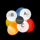 Abstract circles on black. Glass elements banner Stock Photos