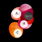 Abstract circles on black. Glass elements banner Stock Images