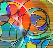 Abstract of Circles. And color lines. 3D rendering Stock Photo