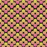 Abstract circles flowers vibrant seamless gradient pink and yellow pattern. For craft, wrapping, fabric, textile vector illustration