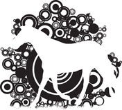 Abstract circles with a horse. A black  circle abstract background with a horse Royalty Free Stock Photo