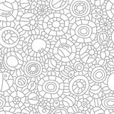 Abstract circles and lines. Seamless pattern. Hand drawn backdrop. Outline. Vector. EPS 8 Stock Images
