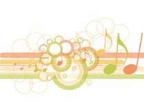 Abstract circles with music notes Stock Photography