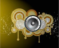 Abstract circles with music notes Stock Images