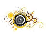 Abstract circles with music notes Royalty Free Stock Photo