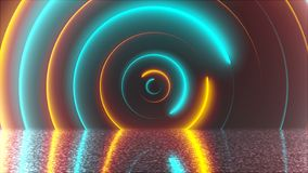 Abstract circles neon tunnel with reflection, computer generated background, 3D rendering. Abstract circles neon tunnel with reflection, computer generated vector illustration