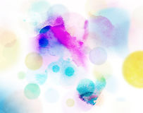 Abstract circles pattern on watercolor Royalty Free Stock Image