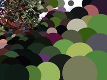 Abstract circles in perspective background. Abstract background of circles of different size and color in perspective with natural foliage element stock illustration