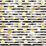 Abstract circles and stripes seamless pattern. Abstract gold metal confetti and black and white stripes seamless pattern. Luxury golden glittering grunge hand stock images