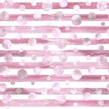 Abstract circles and stripes seamless pattern. Abstract geometric pink confetti circles and pink white stripes seamless pattern with grunge effect. Hand drawn royalty free stock photo