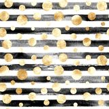 Abstract circles and stripes seamless pattern. Abstract gold metal confetti and black and white stripes seamless pattern. Luxury golden glittering grunge hand Royalty Free Stock Image