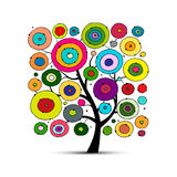 Abstract circles tree, sketch for your design Stock Photos