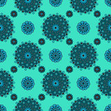 Abstract circles on turquoise background seamless pattern Royalty Free Stock Image